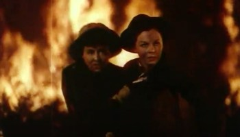 """Celia (Paulette Goddard) and Tana (Susan Hayward) trapped in a forest fire at the climax of """"The Forest Rangers"""""""
