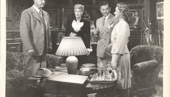 """The main cast of """"The Frozen Ghost"""" - Lon Chaney Jr., Evelyn Ankers, Milburn Stone, Elena Verdugo"""