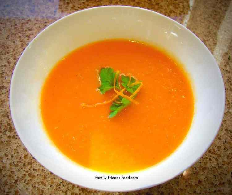 carrot and tomato soup with ginger and orange.