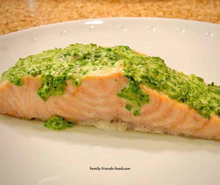 Parsley crusted salmon.