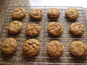 ginger cookies cooling on a wire rack