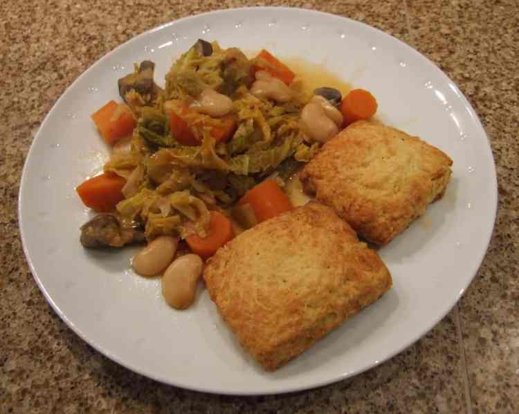 cheese scones with winter vegetable stew
