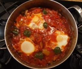 Shakshuka - eggs poached in pepper and tomato sauce