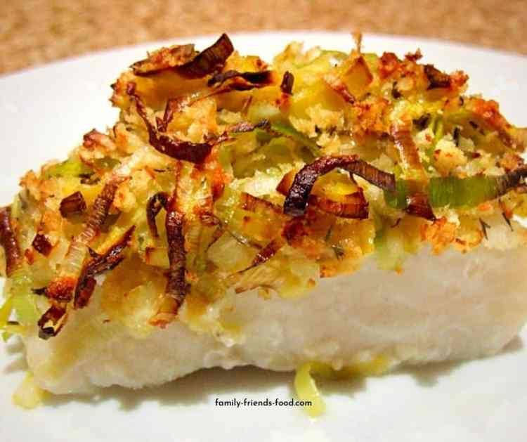 baked cod with leek and cheddar crumb topping.