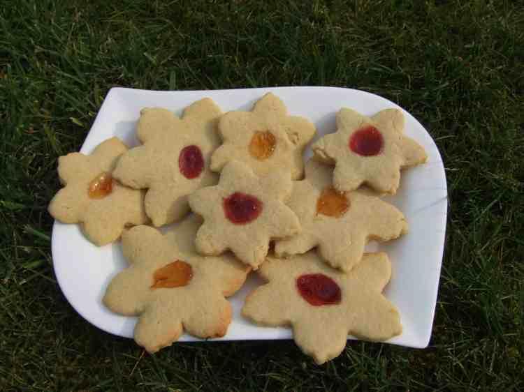 Spring flower thumbprint cookies