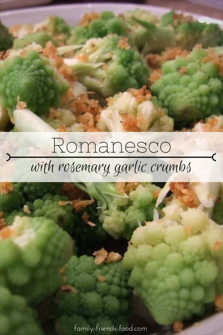 A quick easy & delicious side dish - beautiful steamed romanesco cauliflower with golden, buttery seasoned crumbs. Everyone loves its fractal patterns!