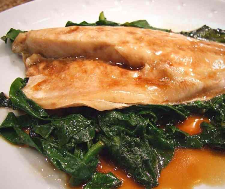 sea bass with spinach, sesame oil and soy sauce.