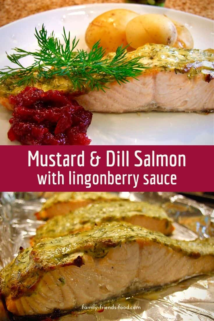 Creamy mustard and dill topping makes this salmon dish Scandi-licious! The easy-to-make lingonberry sauce is a great, sweet-sharp accompaniment.