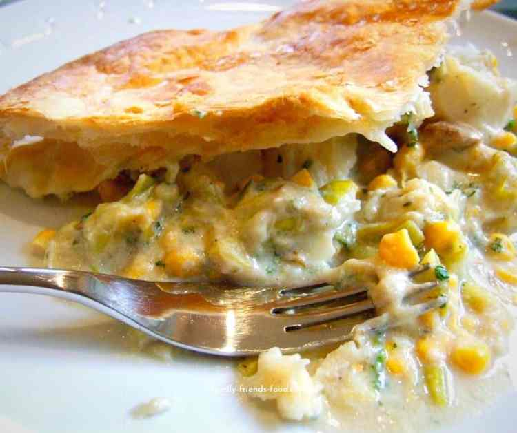 cod and sweetcorn puff pastry pie.