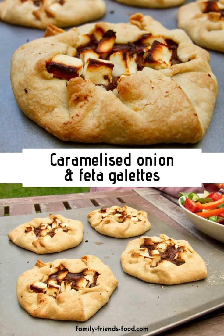 Crisp buttery pastry encloses a gorgeous sweet/spicy/salty filling in these rustic tarts. Feta & onion galettes make a simply chic family meal. (Vegetarian)