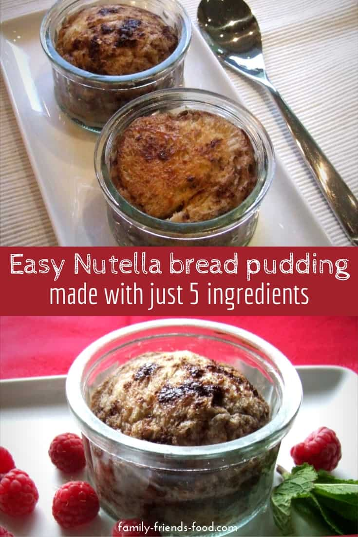 This easy 5-ingredient bread pudding is a lovely and luxurious way to use up stale bread! Rich with Nutella, it's a delicious family favourite dessert.