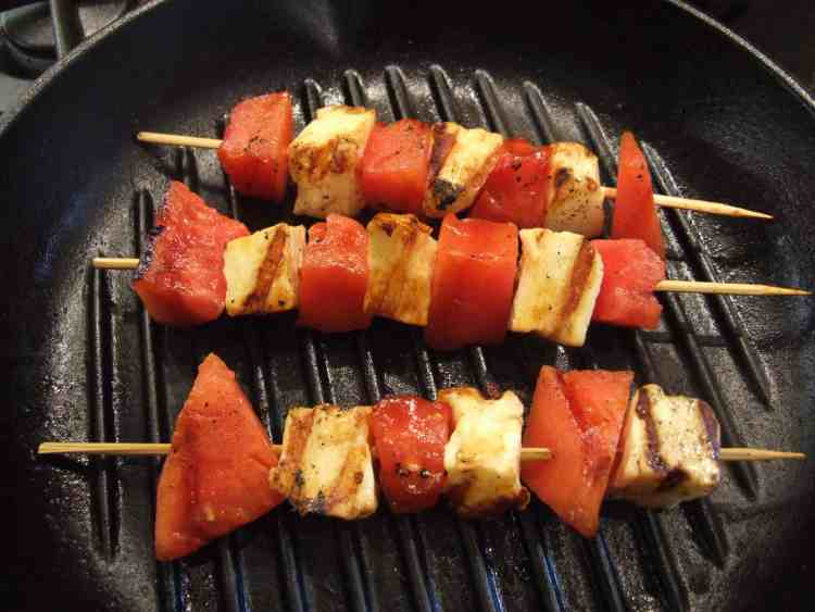 Watermelon & halloumi kebabs in the griddle pan.