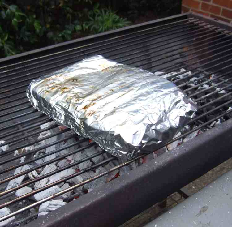 barbecued potatoes in foil