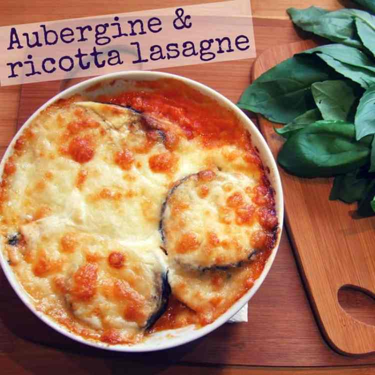 Aubergine & ricotta lasagne - Rich flavours of aubergine, basil & tomato combine with a sumptuous ricotta cheese filling and layers of pasta, for a hearty and delicious vegetarian dish.