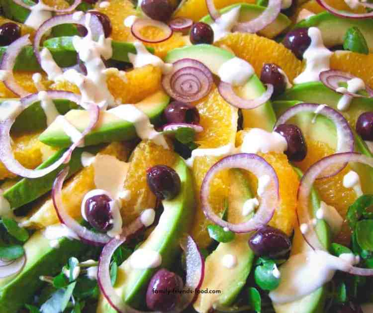 avocado salad with orange, olives & watercress.