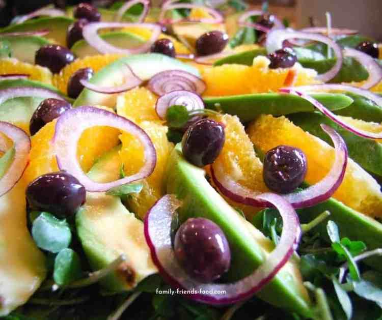 avocado salad with orange, olives & watercress