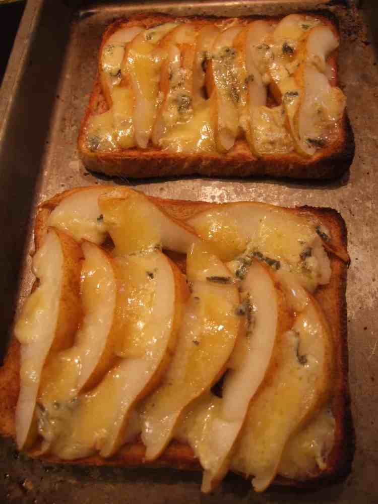 pear and stilton toast