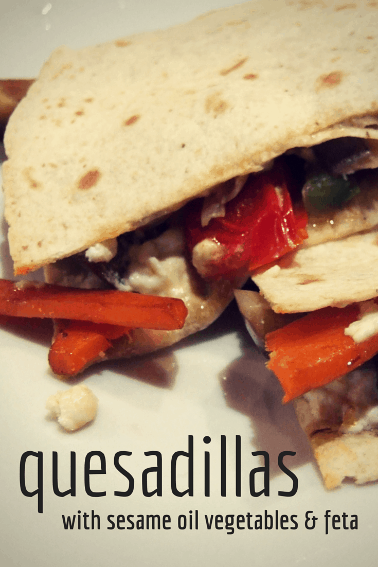 Delicious vegetables seasoned with garlic & sesame oil are wrapped up with feta in these tasty quesadillas. Easy to make, easy to eat! Great family food.