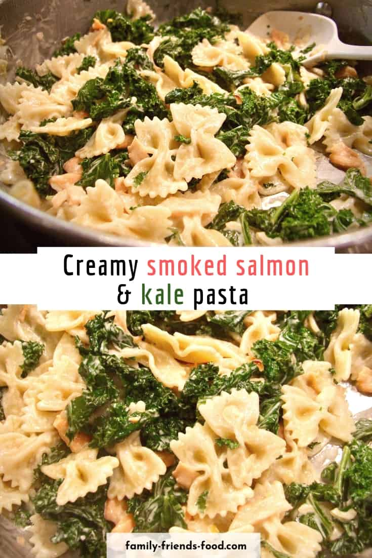 Quick to make, delicious to eat! Super-veg kale is cooked with caramelised onions, cream & smoked salmon, to create a gorgeous sauce for pasta. Yum!