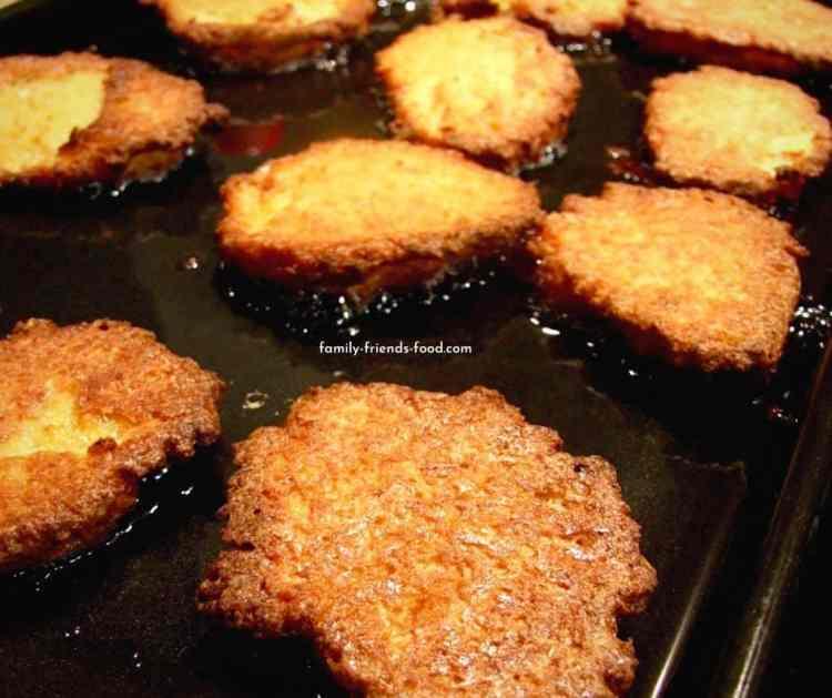 oven fried potato latkes.