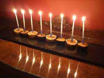 Olive oil cupcake menorah