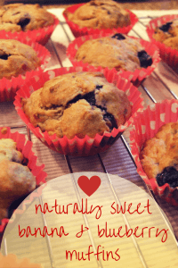 banana & blueberry muffins - no added sugar