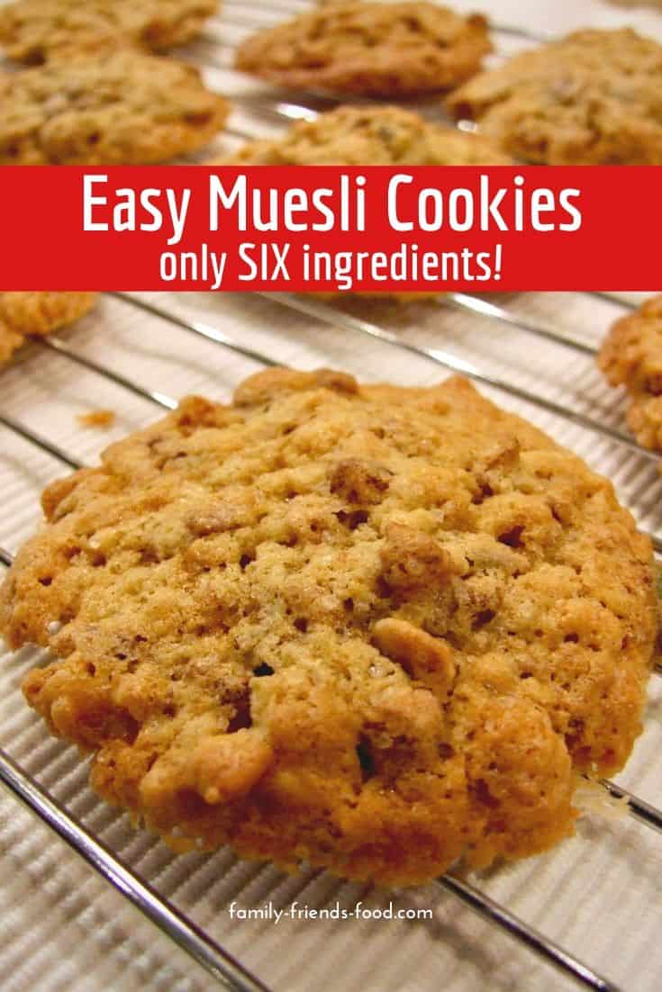 Super-simple, delicious muesli cookies from just 6 ingredients. Light, soft, crumbly melt-in-the-mouth cookies that are almost healthy enough for breakfast!