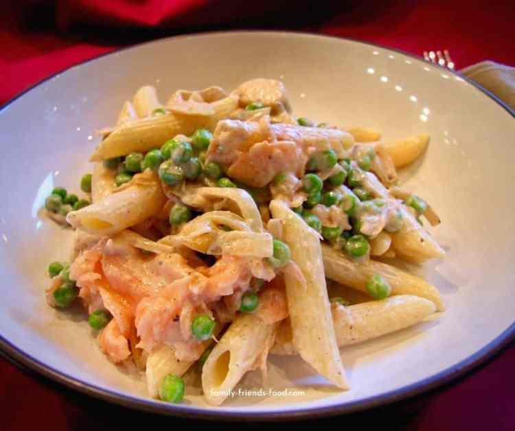 smoked salmon pasta with peas.