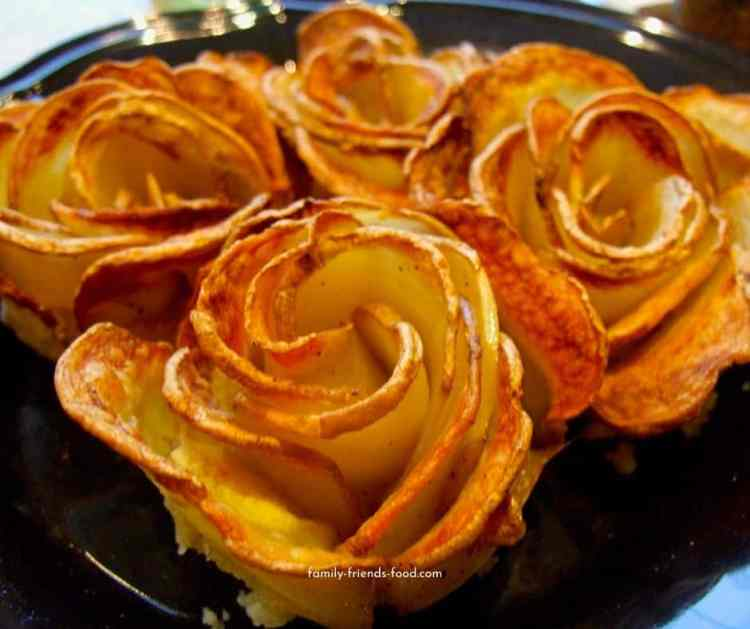 potato roses on a plate.