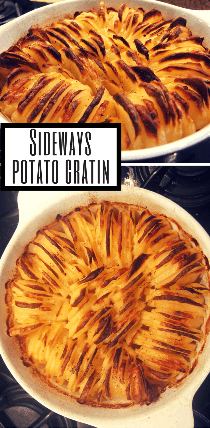 Potato slices are meltingly soft underneath and wonderfully crispy on top. Arrange them 'sideways' in this potato gratin for a beautiful presentation.