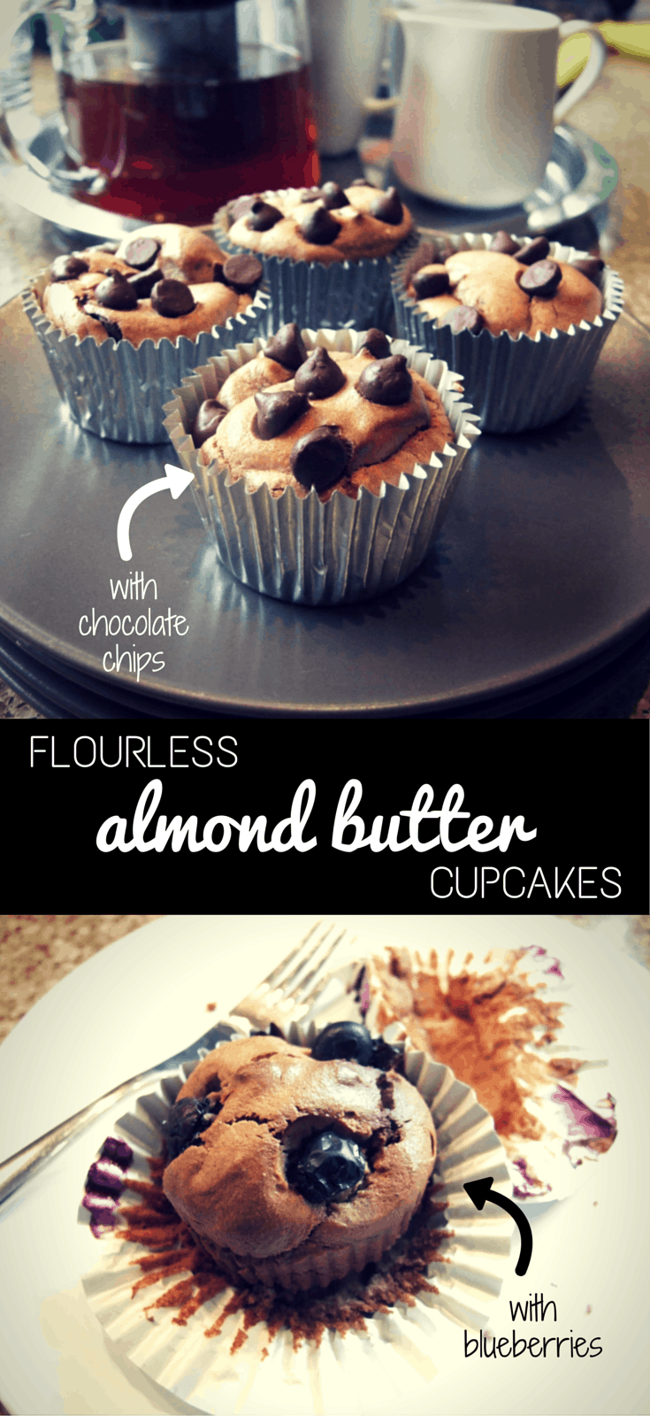 Moist & delicious easy flourless cupcakes made with almond butter & banana. Add blueberries or chocolate chips for a healthy but decadent gluten-free treat.