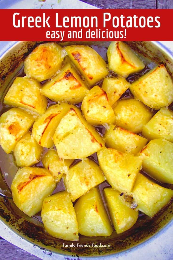 Garlicky, golden Greek lemon potatoes. A taste of the Mediterranean and so easy to make! A delicious side dish for the summer or any time of year.