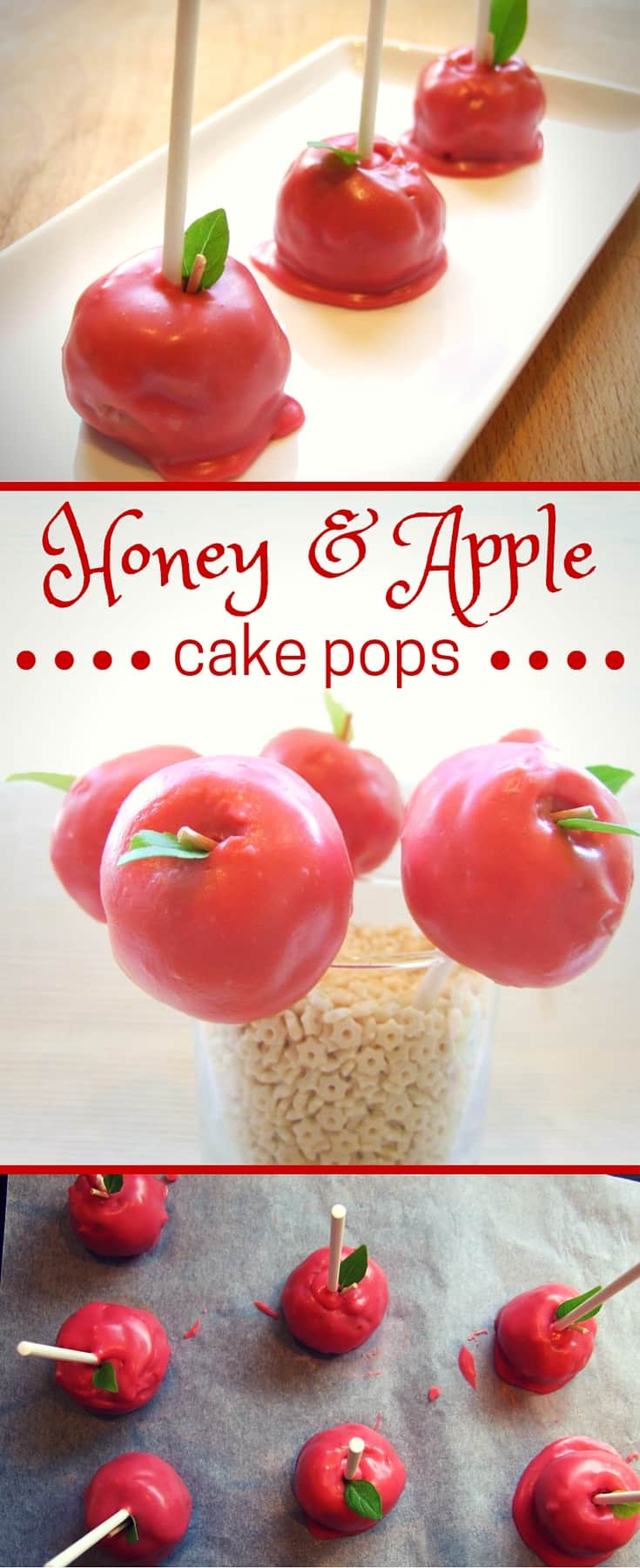 Simple, 3-ingredient, no-bake apple & honey cake pops for Rosh Hashanah! A sweet treat for the new year that both kids and adults will love.