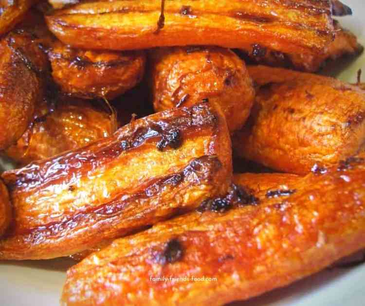 roasted carrots with orange and ginger.