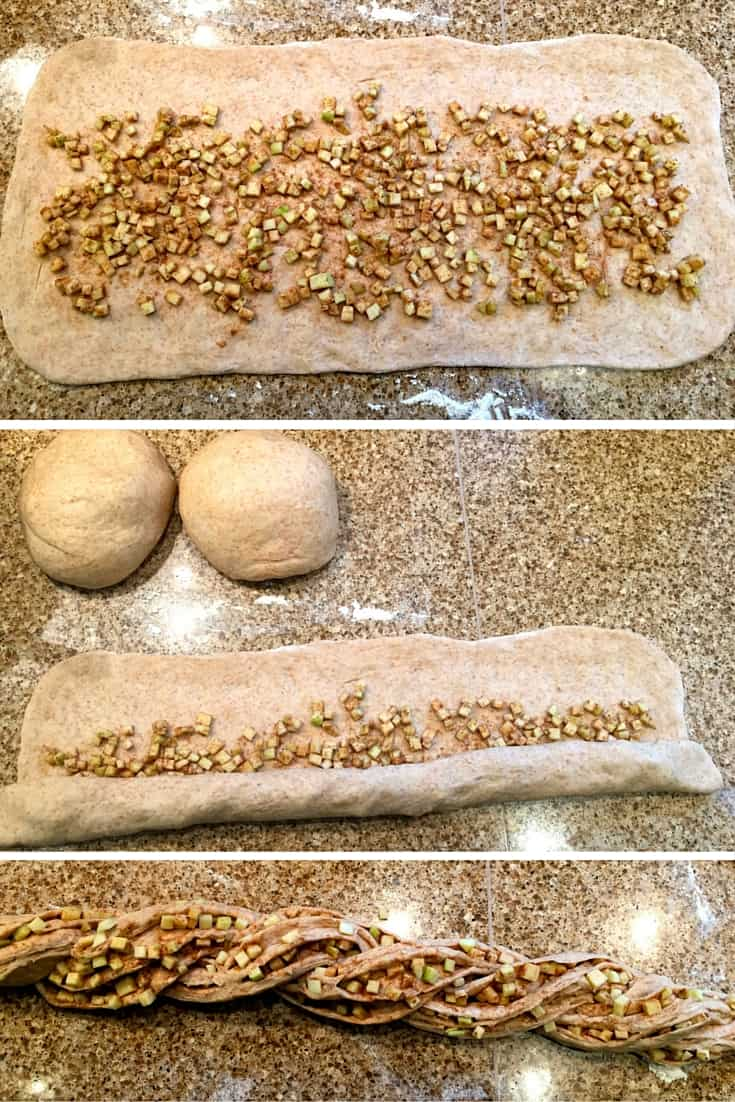 Stages of making a spiced apple 'rose challah'