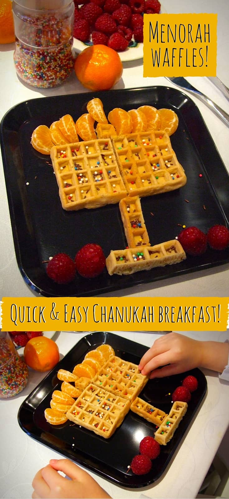 This special Chanukah breakfast comes together from ready-made items in under a minute! Decorated with fruit & sprinkles, your kids will love it!
