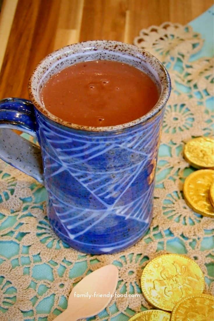 Chanukah gelt hot chocolate - rich, creamy and delicious, this indulgent hot chocolate is made with chocolate coins for a real Chanukah treat.