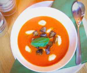 Creamy tomato soup with gnocchi and aubergine croutons.