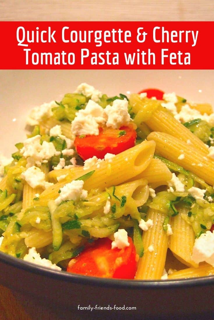 Quick & easy, this delicious cherry tomato and courgette pasta can be ready in 15 minutes. Bursting with veg, and topped with tasty feta, its a fabulous family meal!