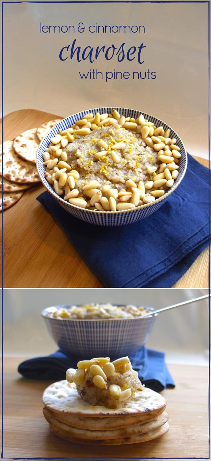 Incredible lemon & cinnamon charoset with pine nuts! An unbelievably delicious combination of nuts, lemon, cinnamon and apple - from North Africa via Italy. This charoset will revolutionise your seder!