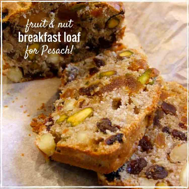 Packed with dried fruits & nuts, this naturally gluten-free breakfast loaf is delicious with lashings of butter. Enjoy it on Pesach, or all year round!
