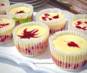 Mini berry cheesecakes.