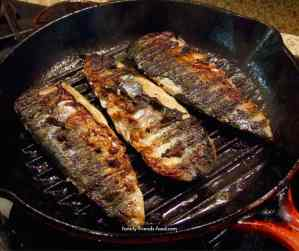 grilled mackerel with garlic & lemon.