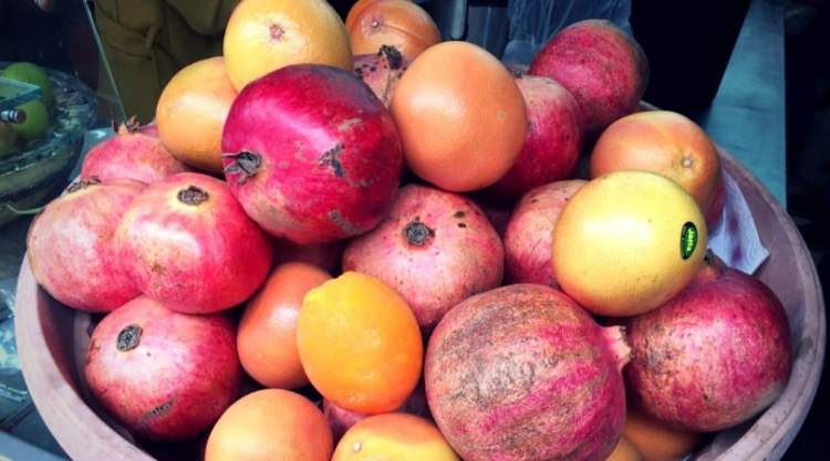 pomegranates and citrus fruits