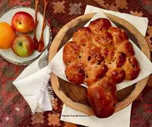 Tree shaped raisin challah
