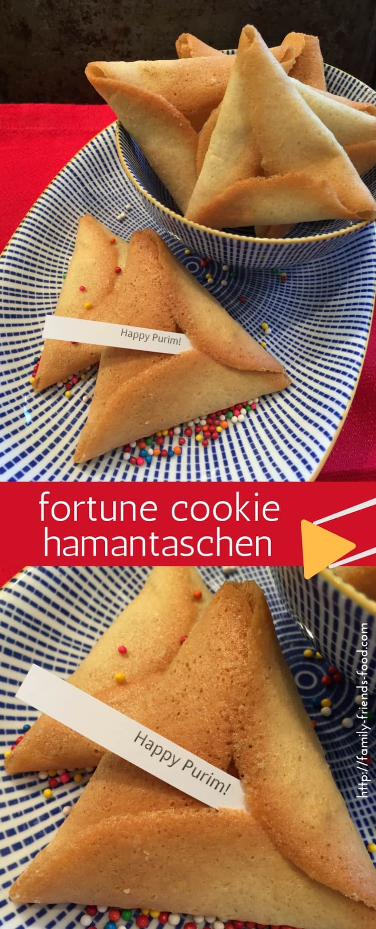 Crisp, sweet and delicious, these easy-to-make vanilla flavoured fortune cookie hamantaschen contain Purim greetings and fun messages. Happy Purim!
