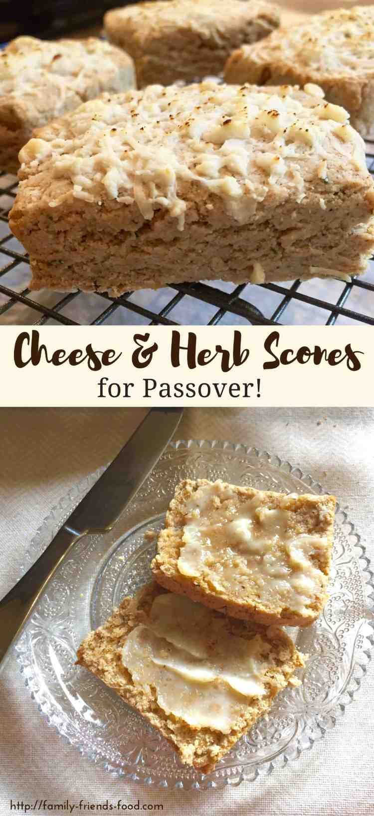 These tasty, cheesy savoury scones have a light, flaky texture & a delicious flavour, & are completely kosher for Passover! Enjoy warm with loads of butter.