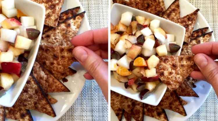 sweet machos (matzah nachos) with fruit salsa