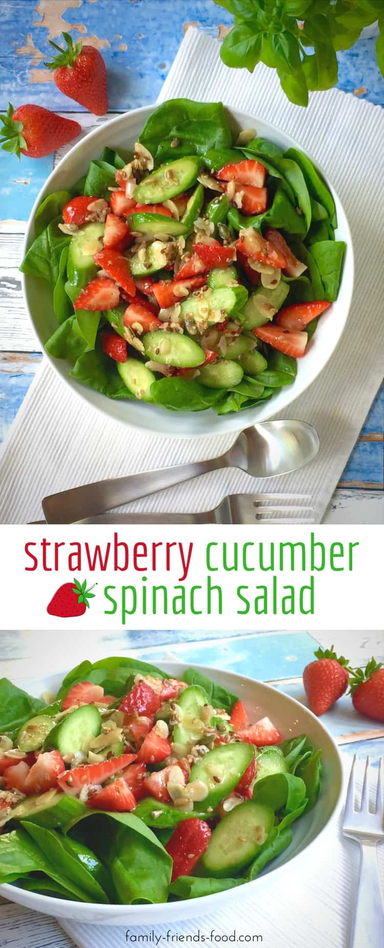 Sweet, tangy, crunchy, tender & crisp, this gorgeous summery spinach salad has it all! Beautiful ripe strawberries & a light dressing make the flavour pop.