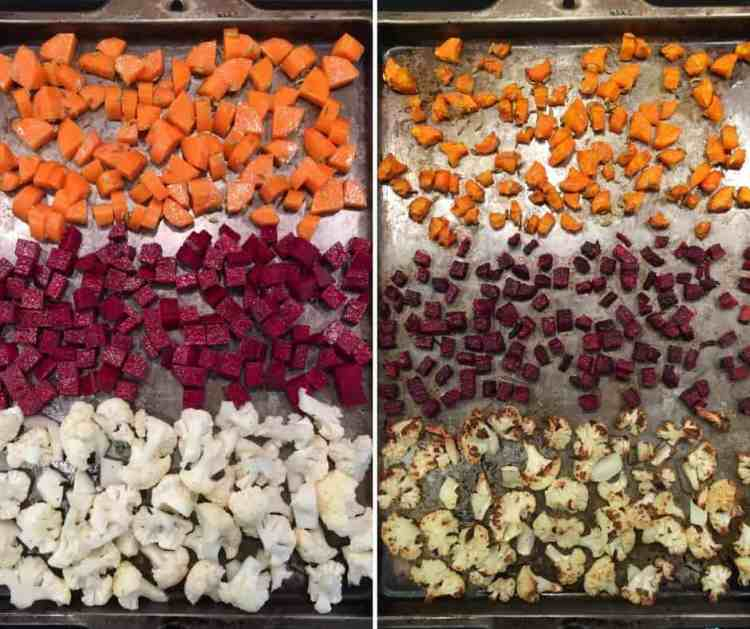before and after roasting - carrots, beetroot and cauliflower